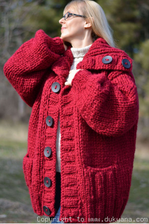 Hand knit mens chunky wool blend collared cardigan in true red