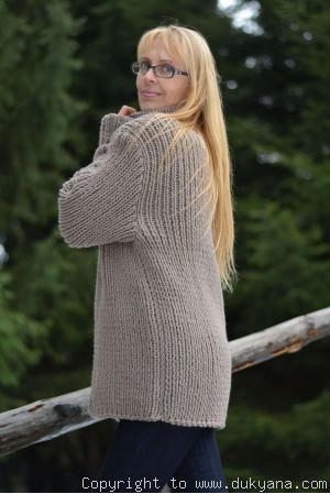 Merino wool blend mens thick cardigan