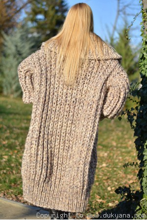 Hand knit mens chunky wool blend T-neck cardigan in pebblestone