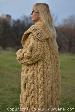 Pure wool chunky cabled unisex hooded cardigan in camel beige