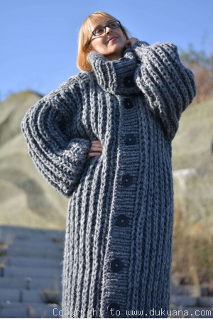 Handknit long chunky wool blend T-neck mens cardigan