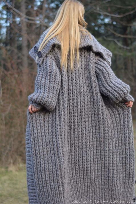 2c47b7b4 Handknit long chunky wool blend T-neck mens cardigan/CAM40