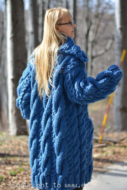 Pure wool chunky cabled unisex collared cardigan in cerulean blue