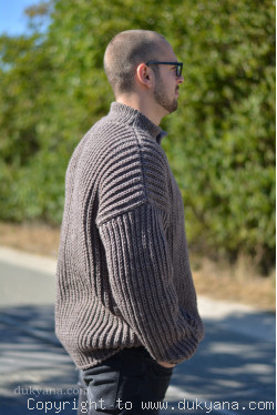 Mens wool cardigan knitted in light brown merino blend