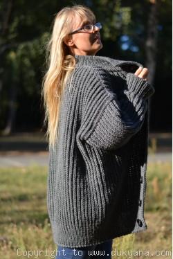 Mens wool cardigan knitted in dark gray merino blend