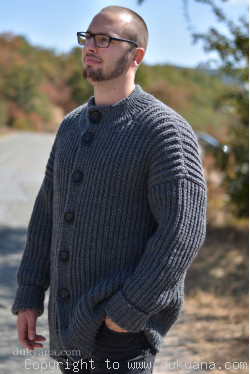 Mens wool cardigan knitted in dark gray merino blend