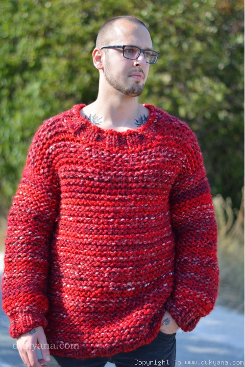 Mens wool sweater handknit with soft merino in red mix