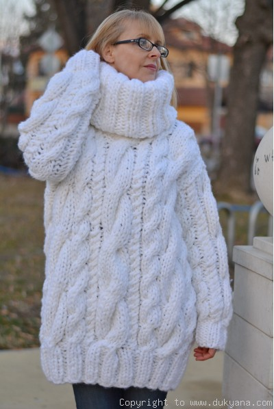 Hand knitted chunky huge T-neck cabled wool blend sweater in white