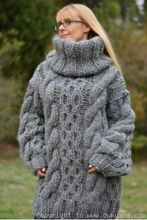 Handknit chunky merino blend soft huge T-neck cabled sweater