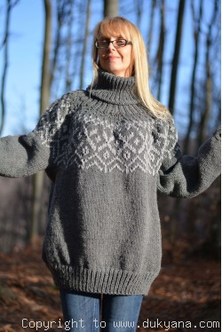 Knitted mens T-neck soft sweater in dark gray