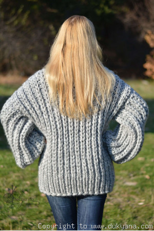 Hand knitted soft merino blend chunky Tneck sweater mens
