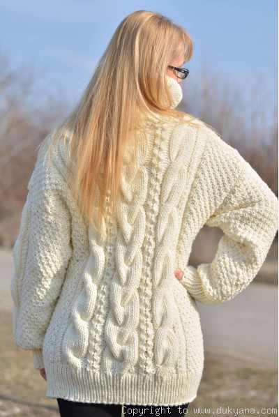 Hand knitted merino blend T-neck cabled wool sweater in Ivory