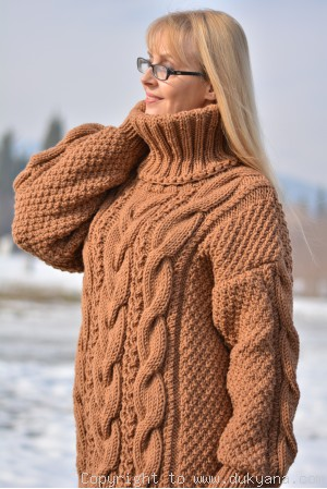Hand knitted soft merino wool unisex cabled T-neck sweater