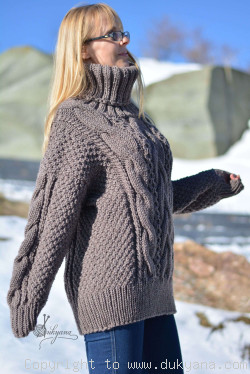 On request hand knitted soft merino wool blend cabled T-neck sweater in beige