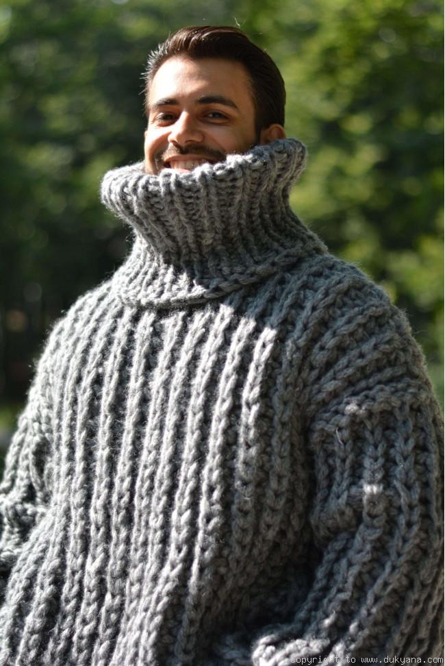 Hand Knitted Soft Merino Blend Chunky Tneck Sweater Mens In Graytm5