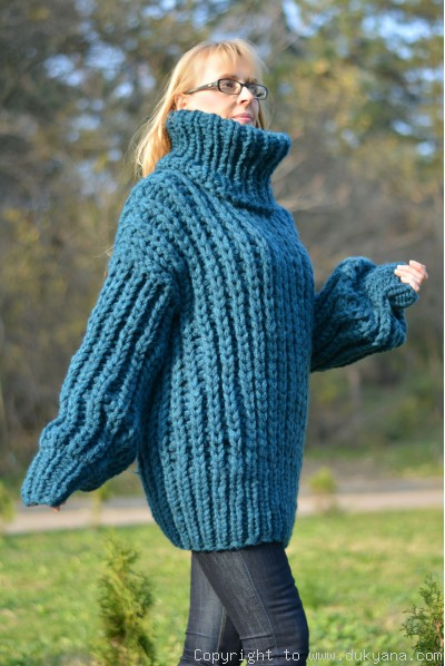 Hand knitted soft merino blend chunky Tneck sweater mens in teal