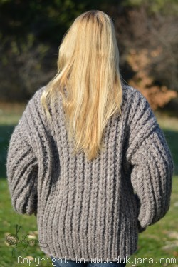On request Hand knitted soft merino blend chunky Tneck sweater mens