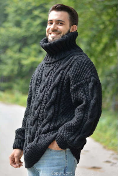 Hand knitted merino blend T-neck cabled wool sweater in black