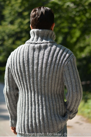 On request Merino blend mens T-neck ribbed sweater in gray