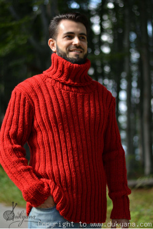 Custom colour Merino blend mens T-neck ribbed sweater