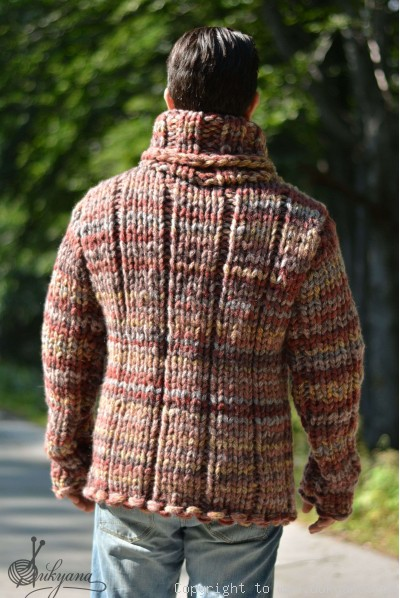 On request Chunky and soft merino blend Tneck mens sweater in autumn shades