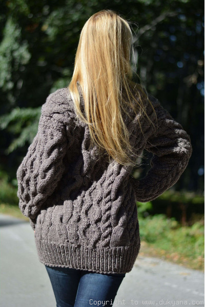Hand knitted wool blend cabled T-neck mens sweater in beige