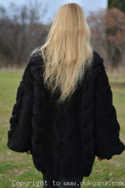 Handknit chunky unisex Turtleneck wool sweater