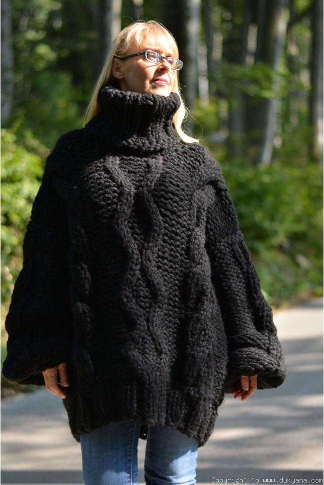 c858dc99610 Handknit chunky unisex Turtleneck wool sweater TM59