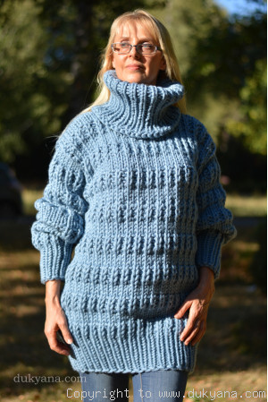 Knitted mens wool sweater in denim blue