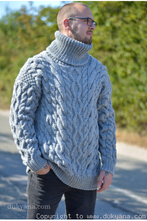 Mens sweater handknit in gray from soft wool
