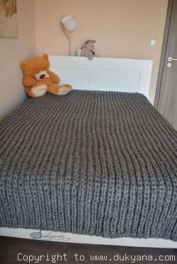 On request Hand knitted chunky machine washable wool blanket