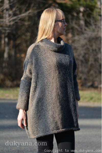 Knitted wool blend poncho in beige-brown mix