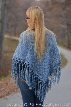 Knitted wool blend poncho in blue mix
