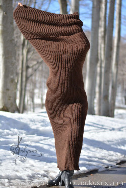 Wool tube scarf in chocolate brown