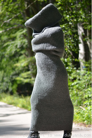 Wool huge tube scarf in dark gray