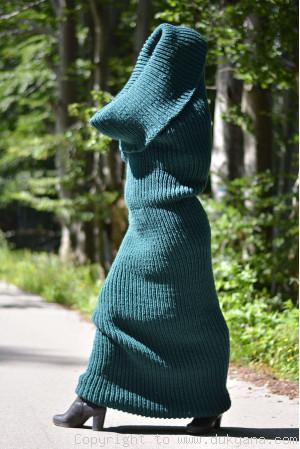 Wool tube scarf in dark green
