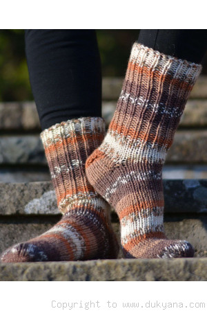 Home made wool socks in beige mix hand knitted