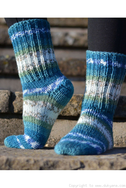 Handmade wool socks in blue mix