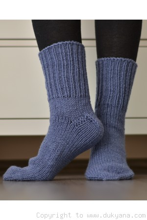 Handmade mens wool socks in denim blue