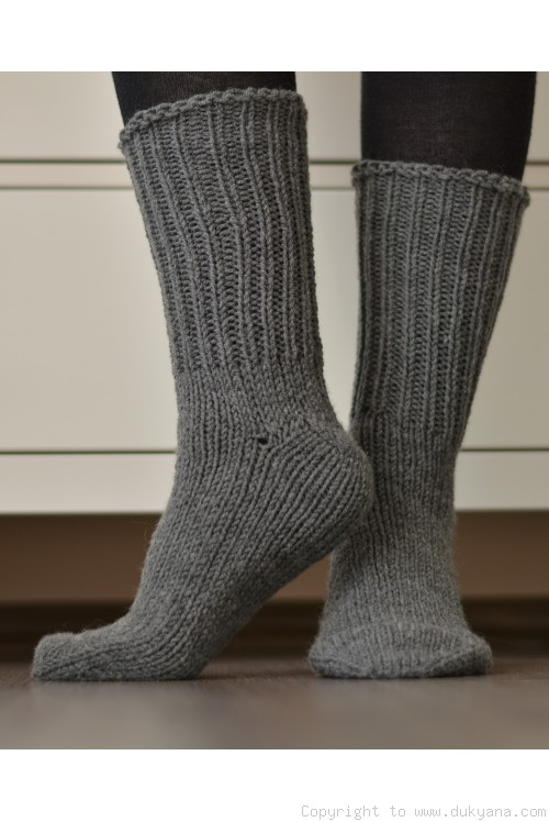 Handmade mens wool socks in dark gray