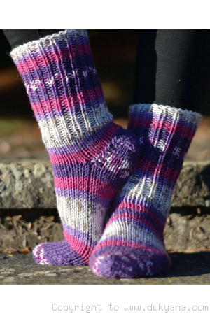 Handmade wool socks in purple mix