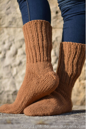 Handmade mens wool socks in light brown