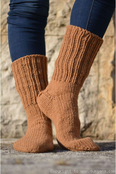 Handmade mens wool socks in light brown