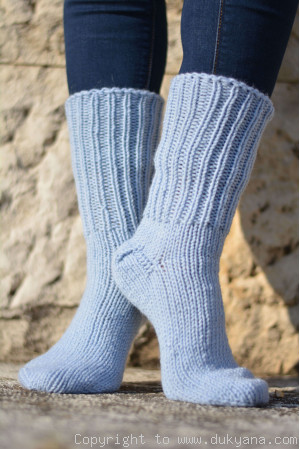 Handmade mens wool socks in sky blue