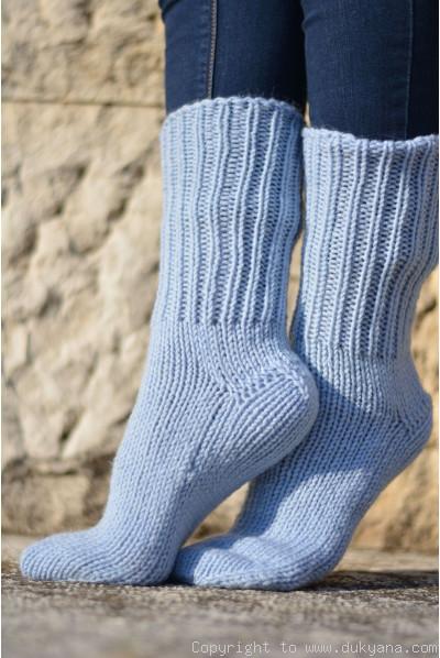 Handmade mens wool socks in sky blue
