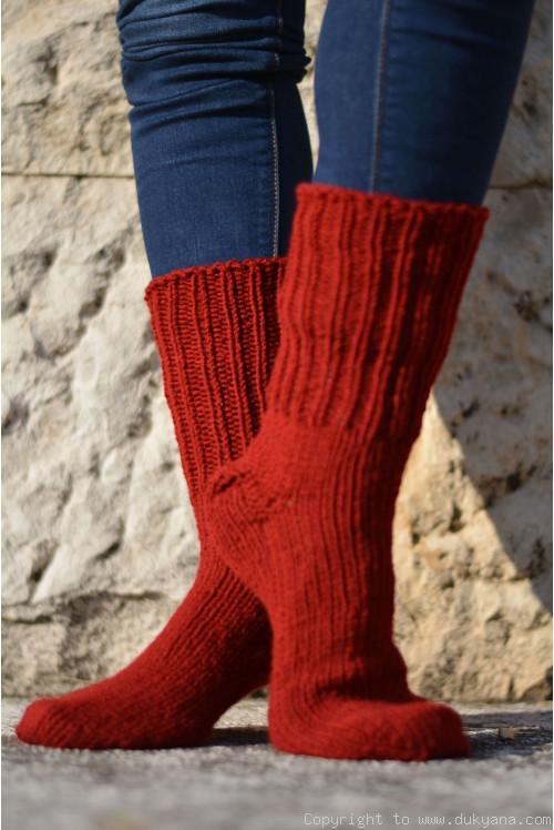 Handmade mens wool socks in brick red
