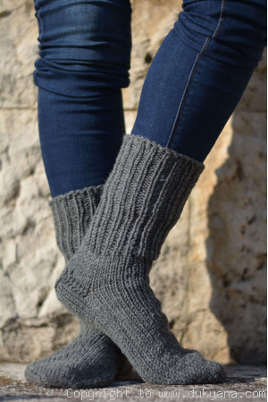 Handmade mens wool socks in dark gray