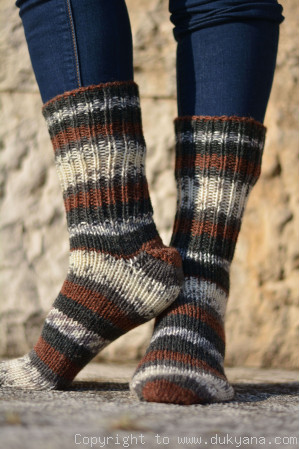 Handmade wool socks in black brown mix