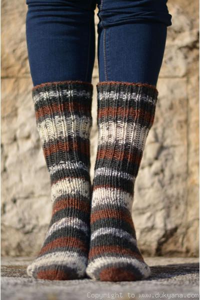 Handmade wool socks in black brown mix
