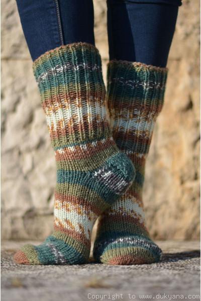 Handmade wool socks in green brown mix